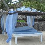 Baldaquin proche de la plage et d'un resto.