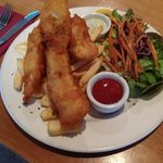 battered blue cod and chips