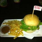 Sarawak Laksa Burger, with Laksa Sauce for fries dipping