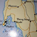 Map showing Krabi and Phulay Bay