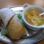 Chicken Soup with Turkey Sandwich