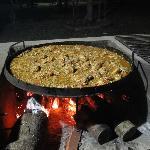 Pollo al disco en el quincho