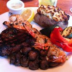 Steak, Garlic Shrimp and a Twice Baked Potato... Yum!