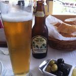 bread, olives and a local beer