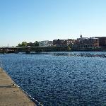 behind hotel, Oswego River