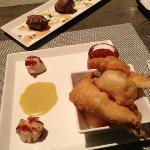 haddock tempura w maple sweet chilli sauce & blue cheese stuffed dates