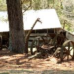 Old farm equipment adds to the ambiance on the 5 acres.