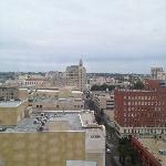 View from the 14th floor. Next to the tall building (the Emily Morgan hotel) is the Alamo.