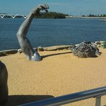 Amazing sculpture on the beach area outside restaurant