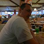 Hubby waiting for his ribs...