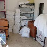 Linen stored on landing
