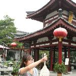 This is in the inner yard of the Tang-Hotel, the pagoda is very nice. Debsi is pointing to somew