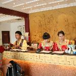 This is the welcome desk of the reception at the Tang-Hotel