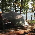 Lakefront campsite at Occoneeche State Park