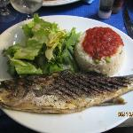 Fish with salad and rice