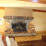 Fireplace in the hotel lobby area