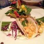 Taco Sampler - Pescado, Cameron, Carnitas (L to R) with side Salad