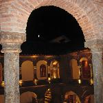 View into courtyard from our room at night.