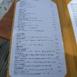 Sample of cocktail menu