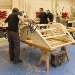 The wood frame takes shape.
