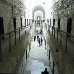 looking down the cell block from the upper level