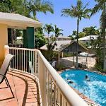 balcony apartment overlooking pool