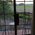 Our patio. Look at the view! Vineyards!