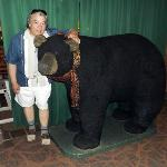 A big stuffed bear in the dining hall