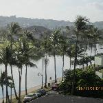 SHOT OF ALA WAI RIVER AND GOLF COURSE.