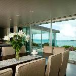 Lodge guests enjoy breakfast in the dining room or one of the outside decks