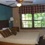 Bedroom in the rustic cabin