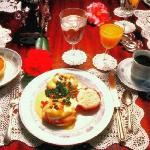Eggs Benedict with sterling silver and fine china