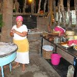 Dona Maria Jimenez making tortillas at the front of the restaurant.