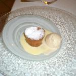Seventh course (my sister) - a molten cake with ice cream