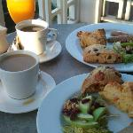 Sumptuous breakfast on the balcony with ocean view at Inn at Summerhill