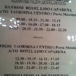 Bus a Taormina - Horários