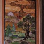 Stained glass window in dining room