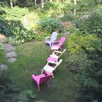 Garden with Adirondack chairs
