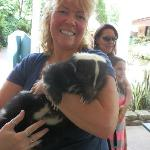 Me holding Oreo the Skunk