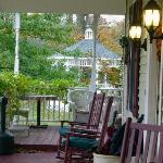 Porch - with umbrellas for guests and a view of the gazebo