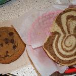 Hot pastrami on swirled rye and choc. chip cookie