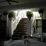 Stairway to upper dining area and cabaret room