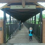 covered bridge leading to hiking