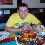 mixed platter and garlic nan