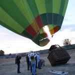 Inflando el globo, justo antes de salir