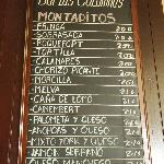 The montaditos (bread) menu