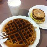 Waffles and egg  N biscuit muffin.