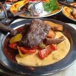 black & white steak