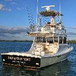 Our 32' custom sportfish accommodates 6 anglers plus crew.