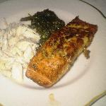 herb-encrusted salmon and lump crabmeat